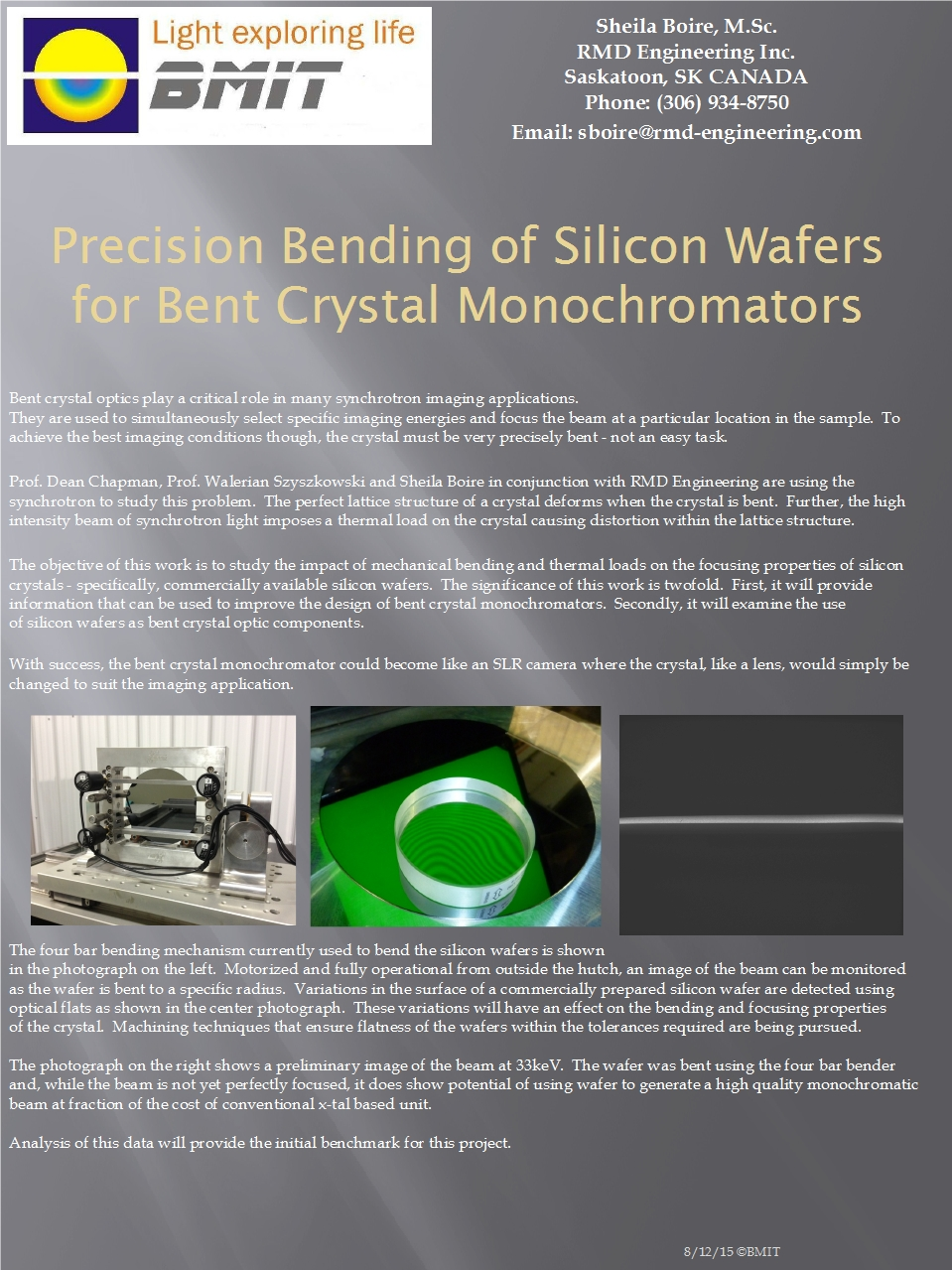 Precision Bending of Silicon Wafers for Bent Crystal Monochromators Image